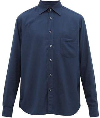 The Gigi - Garment-dyed Cotton-blend Twill Shirt - Mens - Navy