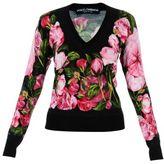 Dolce & Gabbana Black Roses Print V-neck Jumper