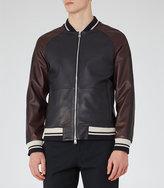 Reiss Pastourelle Leather Stripe Bomber Jacket