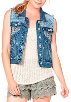 Miss Me Crochet-Back Denim Vest