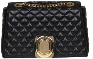 Balmain Crossbody Bags Signet Shoulder Bag In Quilted Leather With Metal Hook