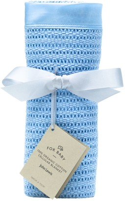 John Lewis & Partners Baby GOTS Organic Cotton Cellular Pram Blanket, 100 x 75cm
