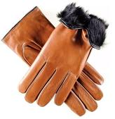 Black Tan and Rabbit Fur Lined Leather Gloves