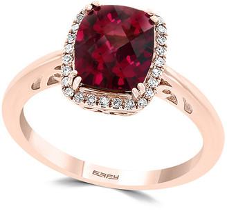 Effy 14K Rose Gold 2.74 Ct. Tw. Diamond & Rhodolite Ring