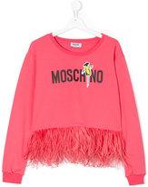 Moschino Kids - graphic print sweatshirt - kids - Cotton/Spandex/Elastane/Ostrich Feather - 14 yrs