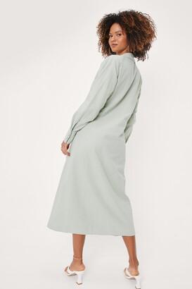 Nasty Gal Womens Linen Look Tie Front Midi Shirt Dress - Green - 6