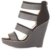 Charlotte Russe Qupid Embossed Strappy Wedge Sandals