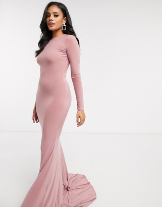 Club L London open back fishtail maxi dress in mink