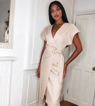 Asos Tall ASOS DESIGN Tall linen wrap midi dress