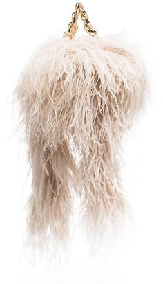 16Arlington Ralphie feather trim clutch bag