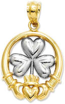 Macy's 14k Gold and Sterling Silver Charm, Claddagh and Shamrock Charm