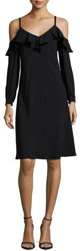 A.L.C. Felicia Cold-Shoulder Ruffled Crepe Dress