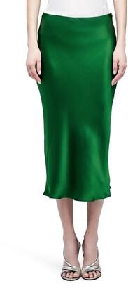 L'Agence Perin Bias Cut Silk Satin Midi Skirt