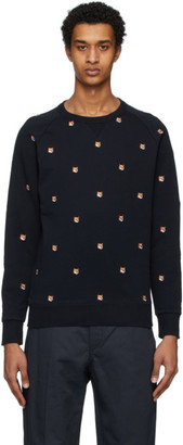 MAISON KITSUNÉ Navy All Over Fox Head Patch Sweatshirt
