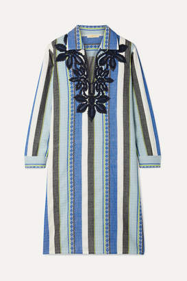 Tory Burch Embroidered Striped Cotton-jacquard Dress - Blue