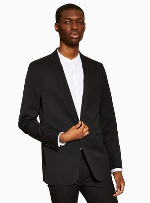 Topman Black Super Skinny Fit Single Breasted Suit Blazer With Notch Lapels