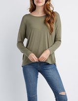 Charlotte Russe Caged-Back Knit Tee
