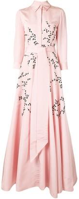 Carolina Herrera Flared Floral Evening Dress