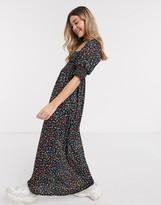 Asos Design DESIGN shirred bust maxi dress in black ditsy floral print