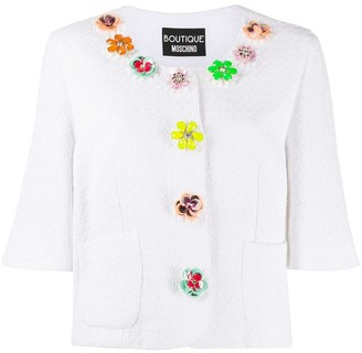 Boutique Moschino Flower Embellished Cropped Jacket