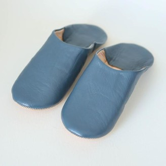 Bohemia Moroccan Babouche Slippers In Blue Grey - Small