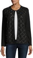 Grayse Lizzy Diamond-Studded Leather Jacket, Black