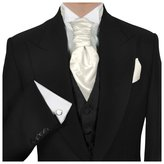 GASSANI Men's Shiny Satin Pretied Ascot Tie, Hanky & Cufflinks Set