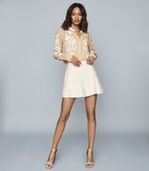 Reiss JODIE SEMI-SHEER LACE DETAILED BLOUSE Nude