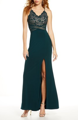Morgan & Co. Lace & Mesh Gown