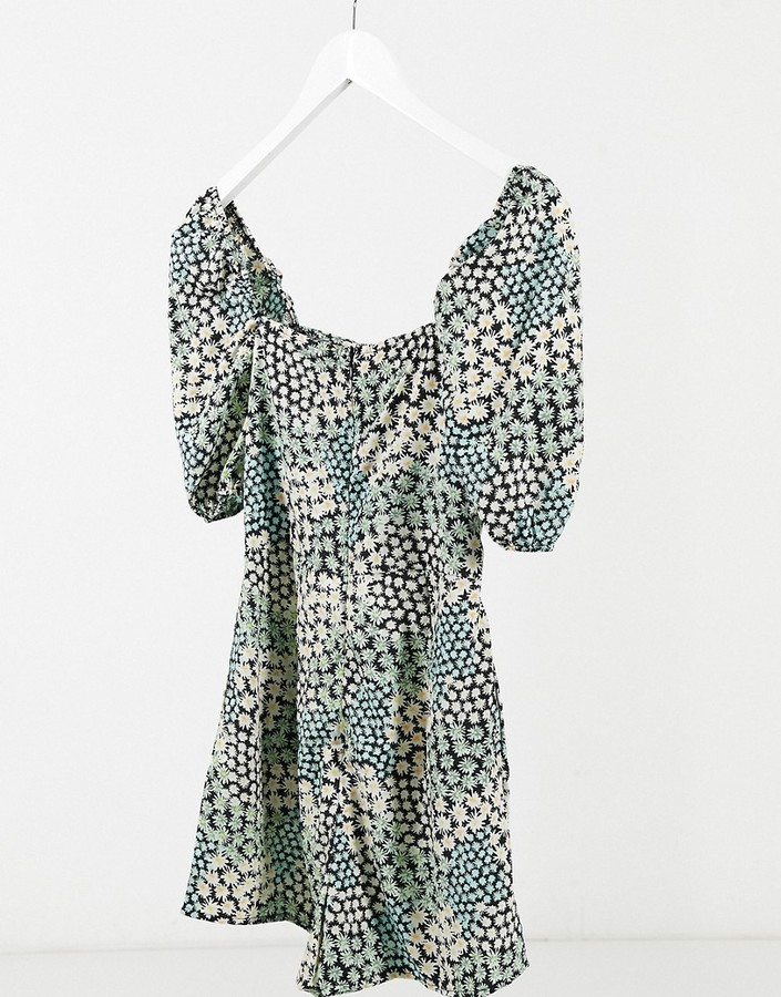Thumbnail for your product : Qed London puff sleeve romper with cut out detail