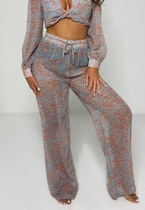 Missguided Blue Zebra Print Wide Leg Beach Pants