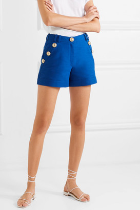 Balmain Button-embellished Cotton Shorts - Blue