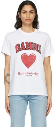 Ganni White Cotton Heart T-Shirt