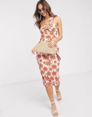 ASOS DESIGN midi plisse sundress in palm print