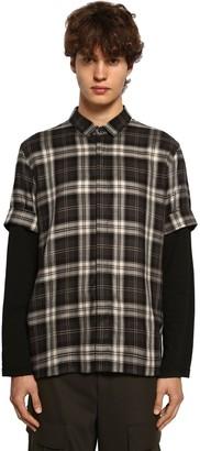 Neil Barrett Check Tencel Shirt W/ Jersey Sleeves