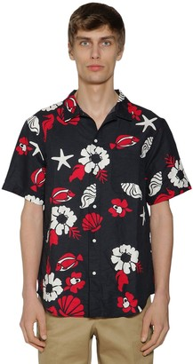 Thom Browne FLOWERS PRINT HEAVY VOILE COTTON SHIRT