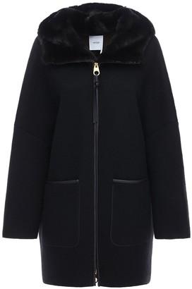 Agnona Hooded Cashmere Jacket W/Fur