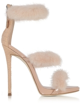 Giuseppe Zanotti Blush Patent and Croco Embossed Leather High Heel Sandals w/Fur