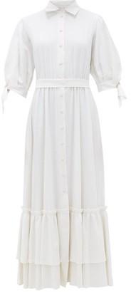 Luisa Beccaria Linen-blend Shirt Dress - Womens - White