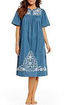 Go Softly Embroidered Denim Patio Dress
