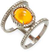 Karma Jewels Women's 14k Gold & Sterling Silver Diamond & Opal Ring