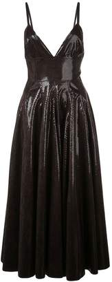 MSGM patent effect flare dress