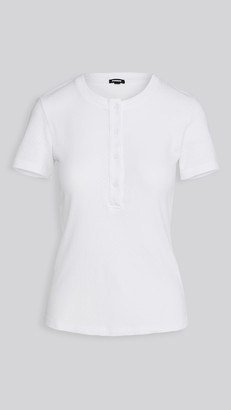 Monrow Pointelle Short Sleeve Henley