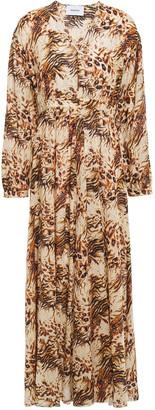 Nanushka Hazel Gathered Leopard-print Organic Cotton-voile Maxi Dress
