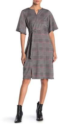 Just For Wraps Elbow Length Sleeve Plaid Print Sheath Dress