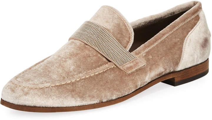 Brunello Cucinelli Flat Metallic Velvet Loafer