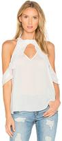 Krisa Ruffle Halter Top in White. - size L (also in M,S,XS)