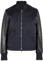 Tim Coppens Lace-up Leather And Twill Bomber Jacket - Midnight blue
