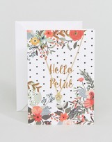 Orelia Hello Petal Flower Giftcard Necklace