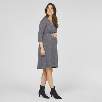 Mama Licious Mamalicious Womens Peppa 3/4 Jersey Dress Navy Blazer Melange